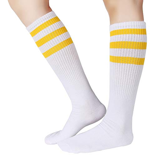 Pareberry Classical Triple Stripes Soft Cotton Over-the-Calf Retro Tube Socks (A-Pair(Yellow/White)) ()