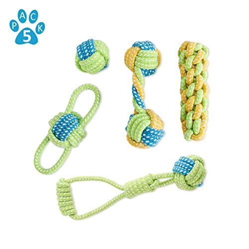 Nollary Small Dog Puppy Rope Chew Toys Teething Clean, Natural Cotton Rope Ball Interactive Tug of War Toys for Aggressive Chewers