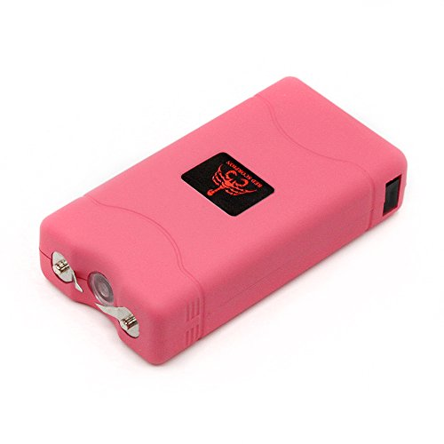 (Red Scorpion Mini Stun Gun 800-500 Million Volts Rechargeable with LED Tactical Flashlight (Pink))