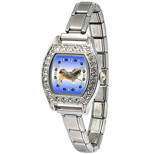 (Timest - Tibetan Spaniel - Womens Stainless Steel Italian Charms Bracelet Watch BJ1086)