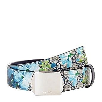 3a91d1b693e Gucci Unisex Silver Buckle Blue GG Supreme Coated Canvas Bloom Print Belt  424674 8499 (100