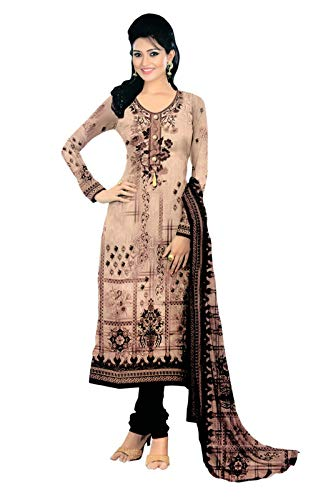 Women's suit Nari's collection cotton print material 2.5 meter salwar kurta chiffon Unstitched dupatta free size [Light Brown]