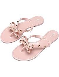 f8fe2d6fb57108 Womens Rivets Bowtie Flip Flops Jelly Thong Sandal Rubber Flat Summer Beach  Rain Shoes