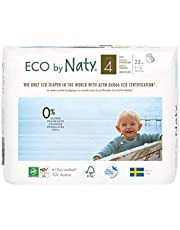 Eco by Naty Premium Pull On Pants for Sensitive Skin, Size 4, 4 Packs of 22 (88 Diaper Pants), 3.9 Kilograms