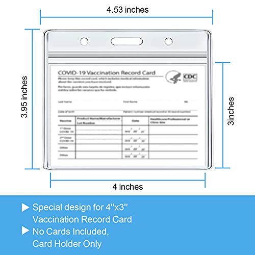 Vaccination Card Holder,CDC Vaccination Card Protector,4 X 3 Inches Record Vaccine Cards Holder, Clear Vinyl Plastic Sleeve immunization Cardwith Waterproof Type Resealable Zip (5)