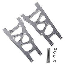 Mxfans 2 PCS Aluminium Alloy SLA007 Silver Front And Rear Suspension Arm for TRAXXAS SLASH 4X4 & HQ727 Short Truck Model Car