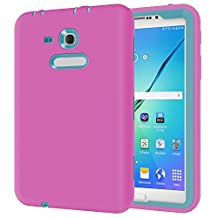 Samsung GALAXY Tab 3 Lite T110 7.0 inch Tablet Case,Y&M(TM) Prrety Protective shell Shockproof Silicone+PC Camera Screen Protector Hybrid Hard Army Kids Safety Tablet Case for Samsung GALAXY Tab 3 Lite T110 7.0 inch (Rose/Blue)