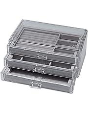 Tomshin 3 Gaveta de acrílico transparente para maquiagem caixa de armazenamento de mesa forro de veludo jóias e cosméticos transparentes organizador caixa expositora de maquiagem organizadores cinza
