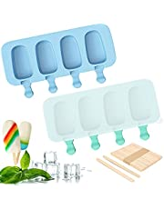 FEILIBAY 2 Pack Popsicle Maker Cake Pop Mold with Lid, 4 Cavities Cakesicle Mold Silicone Ice Pop Mold with 50 Pack Wooden Sticks for Homemade DIY Ice Cream (Blue and Green)
