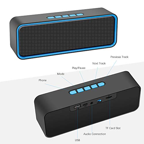 Kolaura Portable Wireless Speaker, TWS Bluetooth 5.0 Speaker with 3D Stereo HiFi Bass, 1500mAh Battery, 12 Hour Playtime (Blue)