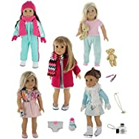 PZAS Toys 18 Inch Doll Clothes - 5 Winter Outfit Set with Accessories, Compatible with American Girl Doll Clothes and Other 18 Inch Doll Clothes