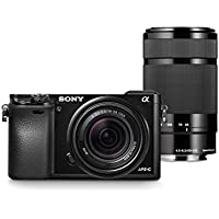 Sony Alpha a6000 Digital Camera Wi-Fi w/ 18-55mm 55-210mm Zoom Lens Bundle (Certified Refurbished)