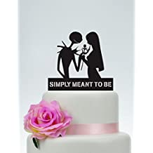 Wedding Cake Topper,Simply Meant To Be,Jack Skellington Cake Topper, Jack and Sally, Halloween Wedding Topper P146