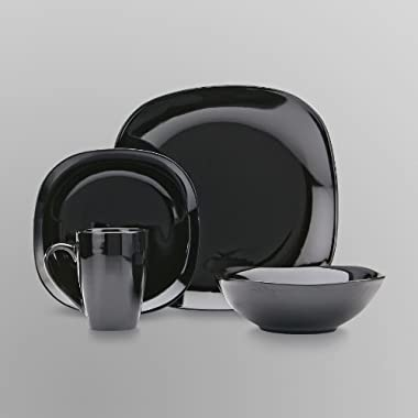 Essential Home 16-piece Solid Color Dinnerware Set- black - Soft Square