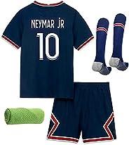 2022 Soccer Jersey for Kids Youth Football Kit Short Sleeved Jersey Shorts Socks Towel 4in1 Gift Set,Color Nav