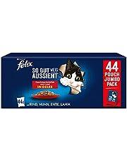 FELIX Zo goed als het eruit ziet kattenvoer nat in gelei, variëteitenmix, verpakking van 44 (44 x 85 g)