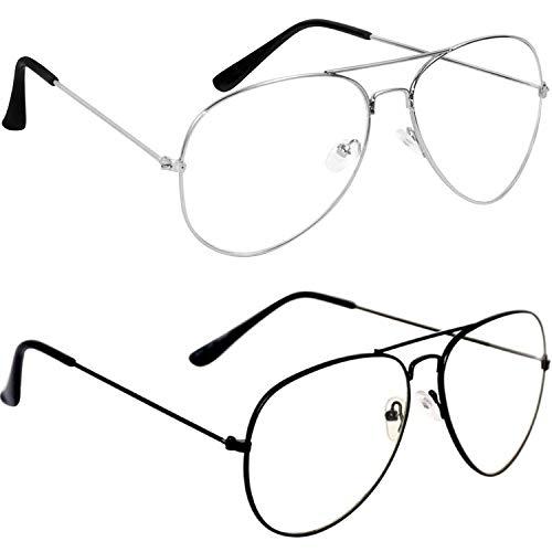 Dervin Unisex Aviator Sunglasses (55, Clear) – Combo of 2