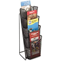 Safco 5641BL - Onyx Mesh Counter Display, 4 Compartments, 5-1/4w x 7d x 16-1/2h, Black