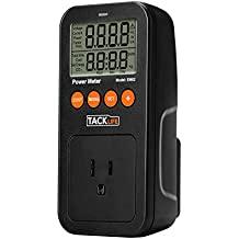 Tacklife EM02 Classic Power Meter Energy Watt Voltage Amps Electricity Usage Monitor Tester with Overload Warning, LCD Display for Saving Energy Cost