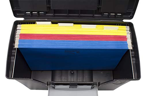 Image of Storex Portable File Box with Organizer Lid, 17.13 x 9.63 x 11 Inches,