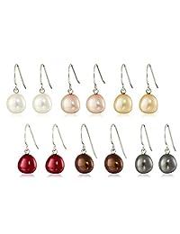 Sterling Silver AuraPearl Freshwater Cultured Pearl Dangle Earrings, Set of Six (7-8 mm)