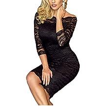 COOCOl Office Ladies Dress Party Slash Nech Black Lace Scalloped Off Shoulder Midi Dress Fall