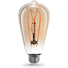 Feit 6.5W Equivalent Soft White (2000K) ST19 Dimmable LED Light Bulb Vintage Antique Style Light Bulb