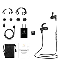 Bluetooth Headphones by North Buy – Premium Wireless Headphones with CHARGING ADAPTER, Noise Cancelling Headphones, Magnetic, Sports Earbuds, Water Proof, Sweat Proof for Active lifestyle, Compatible with iOS, Androids, Travel Adapter, Accessories, 1 Year Warranty, Black