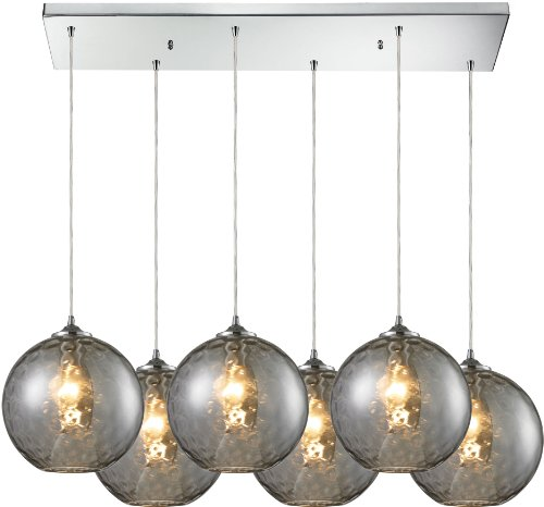 Watersphere 1 Light Pendant (Elk 31380/6RC-SMK 6 by 33-Inch HGTV Home Watersphere 6-Light Pendant with Smoke Glass Shade, Polished Chrome Finish)