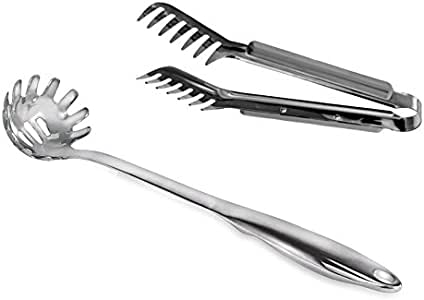 HornTide Stainless Steel Pasta Server Set 1x 9-inch Serving Tongs 1x 12-inch SpaghettiSpoon Teethed Ends Design Kitchen Tools