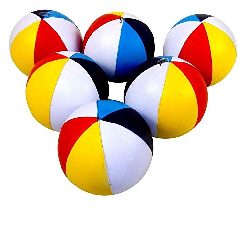 (Closeoutservices Set of 6 - Beach Ball Shaped Stress Relief Colorful Squeezable Toys.)