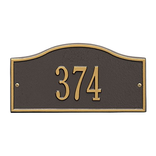 Whitehall Personalized Cast Metal Address Plaque - Small Rolling Hills Custom House Number Sign - 12'' x 6'' - Allows Special Characters - Bronze/Gold by Whitehall (Image #9)