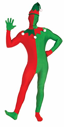 Forum Novelties Disappearing Man Santa's Elf Body Suit Costume, Red/Green, (Woman Elf Costume Pattern)