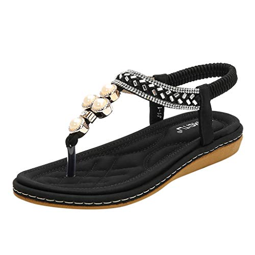 Kauneus Womens Flat Sandals Summer Rhinestone Bohemian Flip Flop Shoes Black