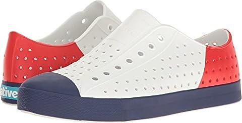 Native Shoes Unisex Jefferson Shell White/Regatta Blue/Torch Block 8 Women / 6 Men M US (Size 8 Native Shoes)