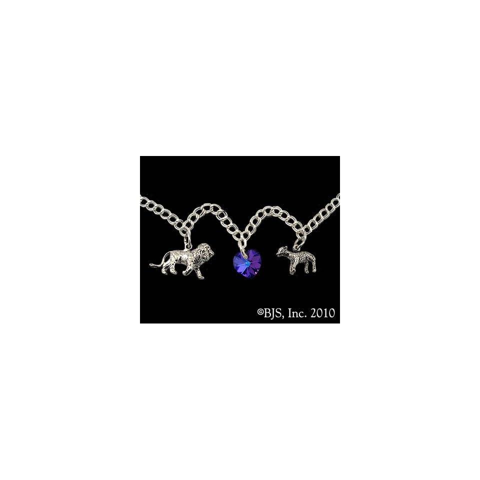 7 Sterling Silver Lion, Lamb & Heart Charm Bracelet   Midnight Blue Heart