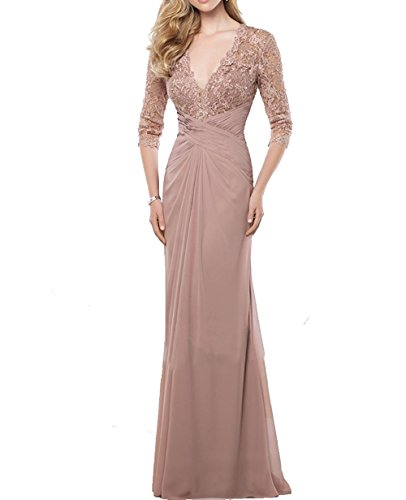 VaniaDress Women V Neck Lace Long Evening Dress Mother Of The Bride Gown V233LF Blush US12 from VaniaDress