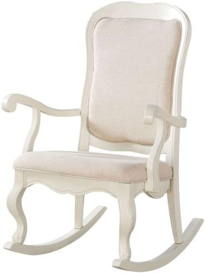 Rocking Chair in Fabric, Living Room Lounger Sofa Armchair, Man-Machine Engineering Chair Chair for Garden Terrace, Antique White