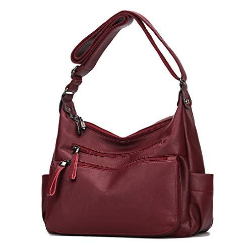Artwell Women Crossbody Bag Soft PU Leather Purses and Handbags Multi Pocket Hobo Shoulder Bag (Burgundy) ()