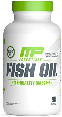 MP Essentials Omega-3 Fish Oil, 100 Highly Purified Nordic-Sourced Fish-Oil Supplement, MusclePharm, Decrease in Fat and Cholesterol, Natural Citrus Flavor, 90 Servings