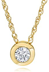 14K Gold 1/4ct Round Diamond Solitaire Bezel Pendant