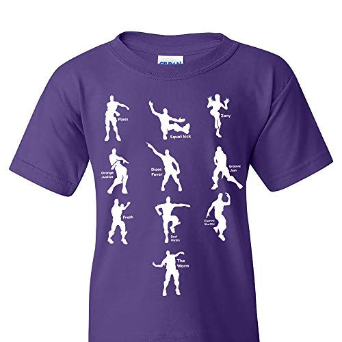 Emote Dances - Funny Gaming Parody Video Game Youth T Shirt - Large - Purple