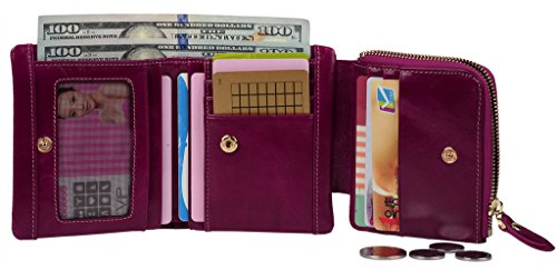 YALUXE Womens Compact Small Size Leather Pocket Wallet with Coin Pocket