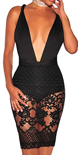 sexycherry Women Boho Bodycon Sexy Lace Floral Halter Strap Deep V Neck Evening Club Mini Dress Black