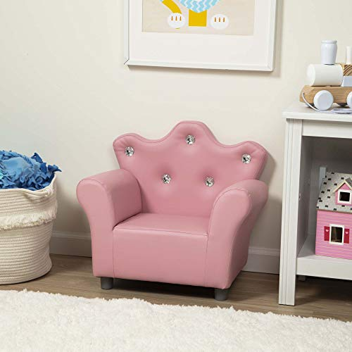 Melissa & Doug Child's Crown Armchair - Pink Faux Leather Children's Furniture