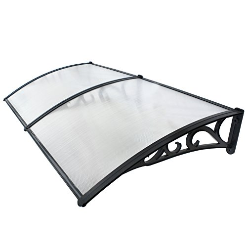 Smartxchoices 6.5'×3.2' Polycarbonate Outdoor Window Deck Font Door Awning Cover Sun Shade Shelter Canopy (Clear/Patterned Panel)