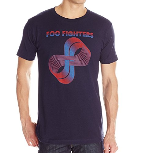 FEA Men's Foo Fighters Loops Logo T-Shirt, Navy, (Foo Fighters Merchandise)