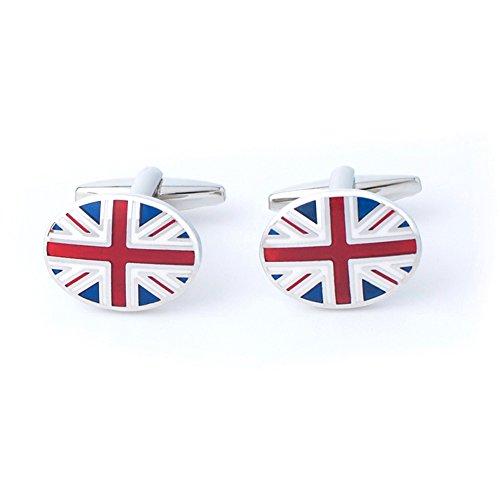Anfly Official England British Flag Cufflinks lag Wedding Dress Shirts Cufflinks for (British Flag Cufflinks)