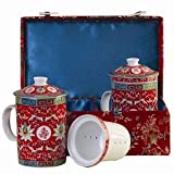 Tea for Two – Red Floral & Calligraphy Tea Cups with Strainers and Lids in a Silk Gift Box – a Perfect Gift!