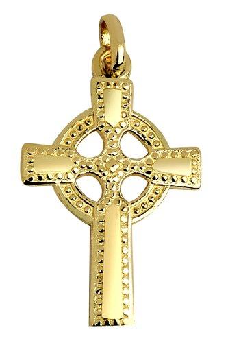 10 ct 471/1000 Grande Or Celtiquees Croix- Polies Pendentif Collier (Livre Avec un 45 cm Chaine)